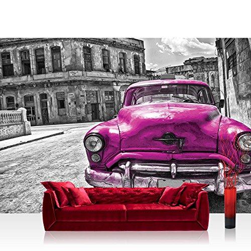 Fototapete 254x184 cm PREMIUM Wand Foto Tapete Wand Bild Papiertapete - Autos Tapete Oldtimer Auto Kuba Havanna Ölfarbe schwarz weiß - no. 2888