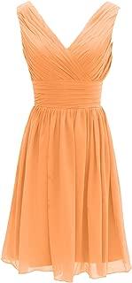 CladiyaDress Women V Neck Sleeveless Chiffon Short Bridesmaid Dress Homecoming Gown D199LF