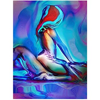 Amazon Com Xindong Sexy Painting Naked Woman And Man Abstract Body Art Abstract Painting Canvas Print For Bedroom Home Wall Decor 50x75 Cm No Frame Posters Prints