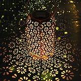 Lanterne Solari a LED LOOHAOC,Luci Solari da Giardino,Lanterne Retrò Sospese in Bronzo Impermeabili IP65, Adatte per Decorazioni per Feste in Corridoio con Prato e Terrazza All'aperto