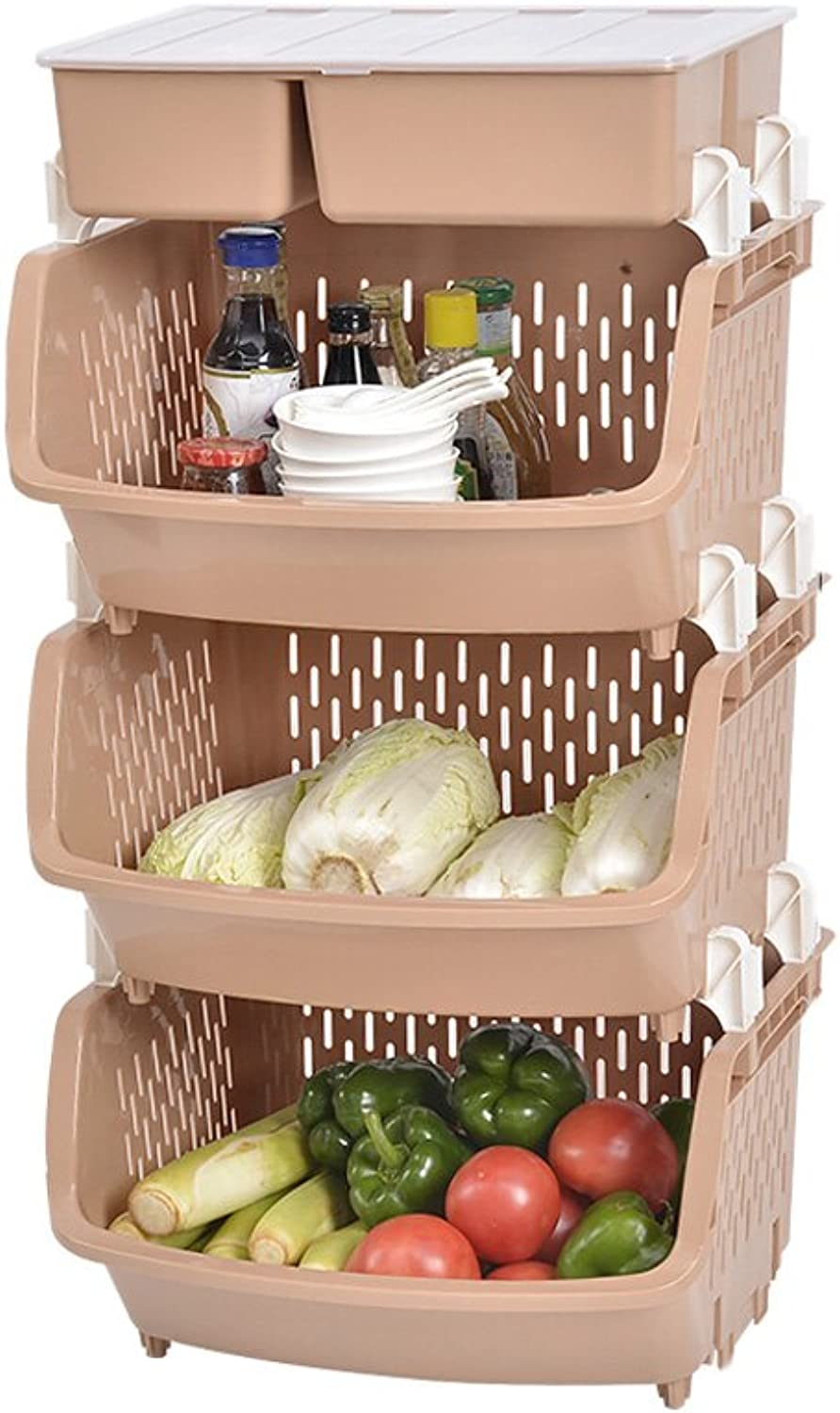 LBYMYB Kitchen Plastic Rack Four-Layer Floor Fruit and Vegetable Rack Storage Rack Drainage Rack Kitchen Storage Rack (color   Khaki)