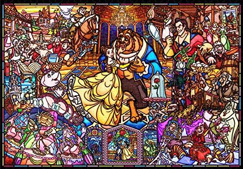 ジグソーパズル 美女と野獣 ストーリー ステンドグラス 1000ピース 【ピュアホワイト】(51x73.5cm)