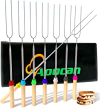 Aoocan marshmallow roasting sticks Telescoping Rotating Smores Skewers Hot Dog - 32 inches - Set of 8 smores sticks for fire pit, Campfire, Camping, Bonfire and Grill
