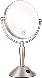 KEDSUM Rechargeable 8 Inch 1X/10X Lighted Magnifying Makeup Mirror with 3 Lighting Modes, Double Sided Magnification Vanity Mirror with Lights, Cordless Tabletop Mirror, Touch Button, USB Operate