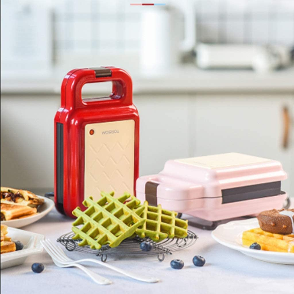 CUIS- Mini machine sandwich Gaufrier, Machine Petit déjeuner multi-fonction, Frying Pan Toast Pain Press (Color : Rose) Rose