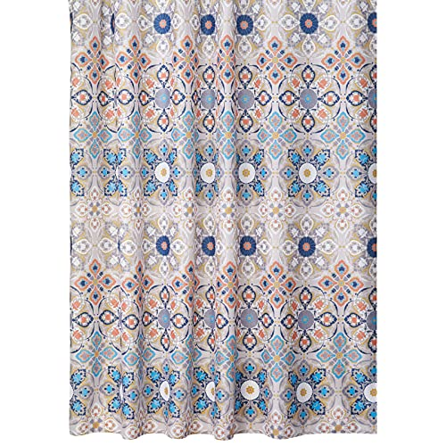 """mDesign Decorative Medallion Print, Easy Care Fabric Shower Curtain with Reinforced Buttonholes, for Bathroom Showers, Stalls and Bathtubs, Machine Washable - 72"""" x 72"""", Tan/Shades of Blue"""