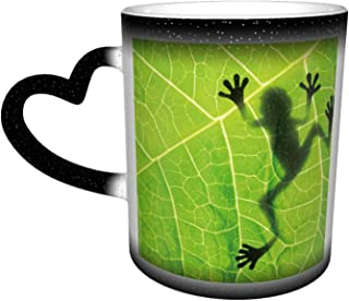 Oaieltj Mug amusant à changement de chaleur, motif grenouille et feuille de grenouille personnalisable, sensible à la chal...