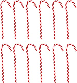 BinaryABC Plastic Candy Cane Ornaments,Christmas Tree Decoration,Christmas Tree Ornaments 12Pcs