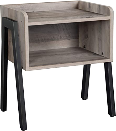 VASAGLE ALINRU Nightstand, Stackable End Table, Side Table for Small Spaces, Storage Compartment, Industrial Accent F...