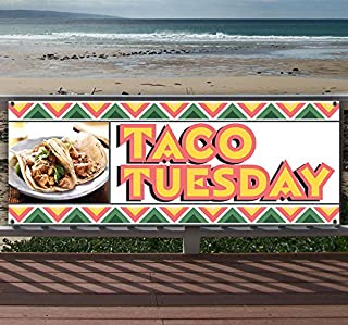 Taco Tuesday 13 oz Heavy Duty Vinyl Banner Sign with Metal Grommets, New, Store, Advertising, Flag, (Many Sizes Available)
