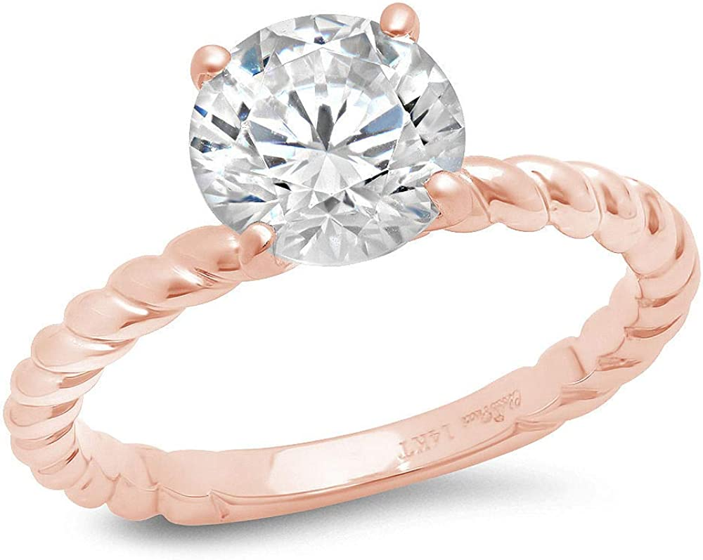 1.9ct Round Cut Solitaire Rope Twisted Knot Stunning Genuine Lab Created White Sapphire Ideal VVS1 D 4-Prong Engagement Wedding Bridal Promise Anniversary Ring Solid 14k Pink Rose gold for Women