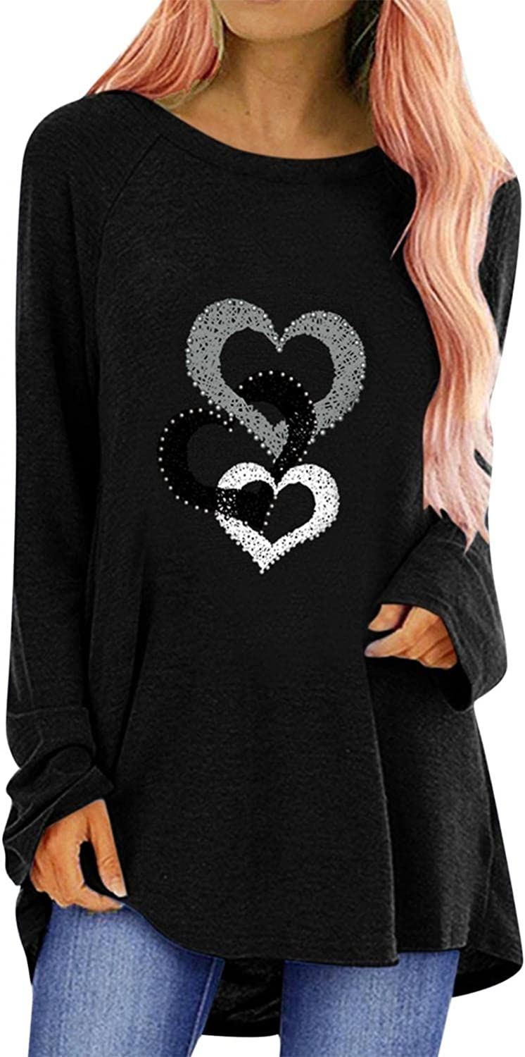 Leirke Women's Casual Long Sleeve Round Neck Tops Daily Summer Loose Heart Graphic Tunics Blouses Tshirts