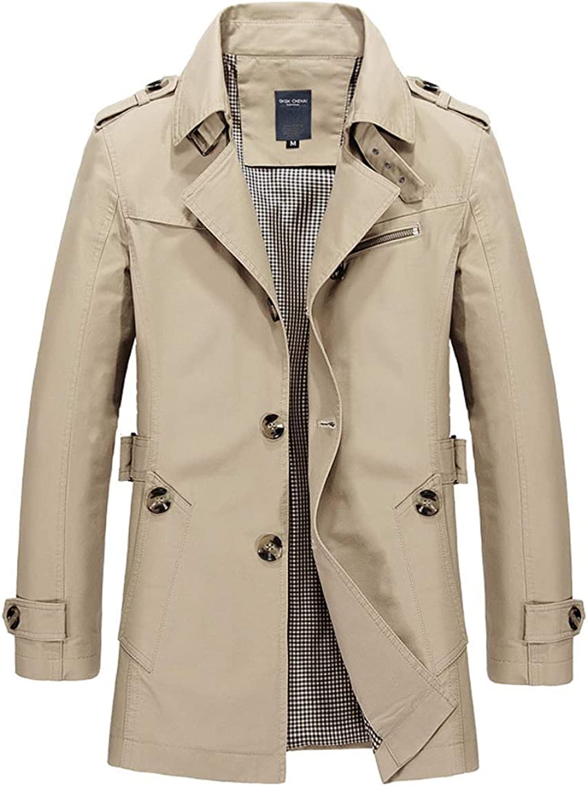 chouyatou Men's Slim Notched Collar Single Breasted Cotton Jacket Office Trench Coat