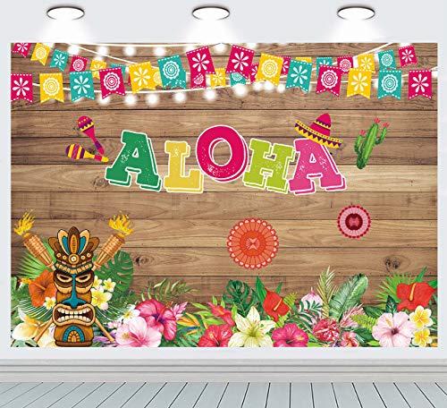 INRUI Summer Tropical Hawaiian Beach Aloha Luau Fiesta Fotografía Fondo Aloha Rústico Flores de madera Baby Shower Photo Booth