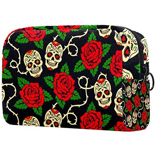 Trousse de toilette personnalisée pour femme - Trousse de toilette portable - Sac à main - Organiseur de voyage - Crânes de sucre - Rose rouge