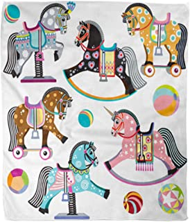 Emvency Throw Blanket Warm Cozy Print Flannel Cartoon of Pony Toys on Wheels Rocking and Spring Horses for Baby Little Kid Comfortable Soft for Bed Sofa and Couch 50x60 Inches