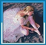 Mjxxxlsd kit de inicio de bordado tela de punto de cruz para bordado costura kit de punto de cruz decoración del hogar artes 50x50cm (ballet)