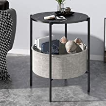 JYQ-SZRQ Accent Table, Round End Side Tables,Metal Sofa Coffee Table,Coffee Snack Table Desk,with Fabric Storage Basket,for Living Room, Hallway, Bedroom (Color : Black+Black Legs)