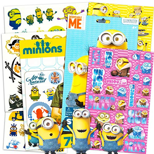 Despicable Me Minions Tattoos and Stickers Party Favor Pack (75 Temporary Tattoos and Over 80 Stickers)