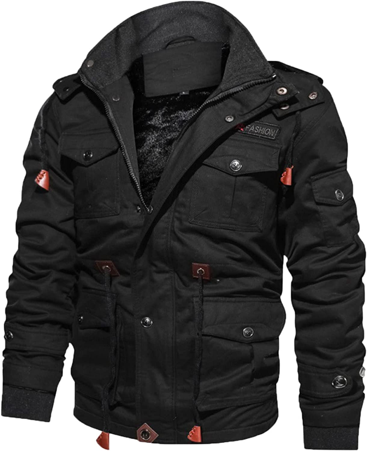 Huangse Men's Plus Size Fleece Lined Multi Pockets Zip Up Stand Collar Military Jackets Windbreaker Padded Bomber Jacket