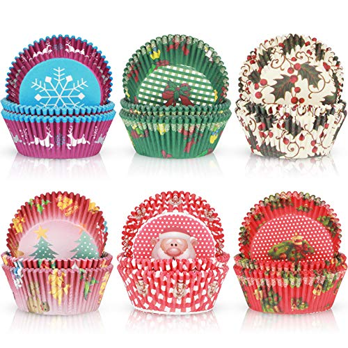 600 Pieces Christmas Cupcake Liners Muffin Cups Colorful Paper Disposable Cupcake Holders for Christmas Themed Party Decorations and Holiday Decorations