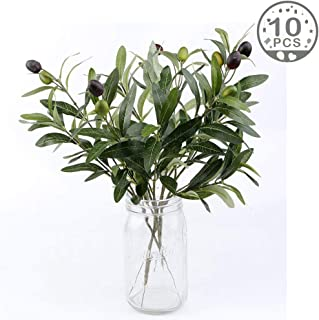 OurWarm 10pcs Olive Tree Branches Artificial Olive Plant Branches Fruits Silk Olive Leaves Decor for Home Garden Office Wedding Greenery Decorations, 12