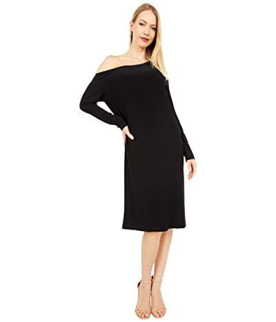 KAMALIKULTURE by Norma Kamali Long Sleeve Drop Shoulder Dress (Black 2) Women