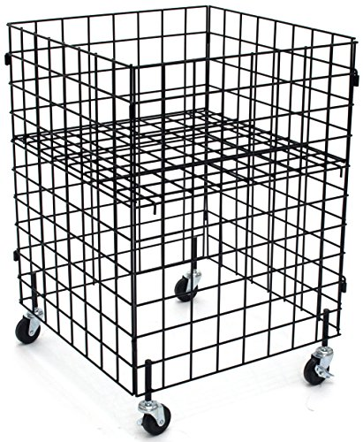 KC Store Fixtures 54106 Grid Dump Bin with Casters, 24' x 24' x 34' High, Black