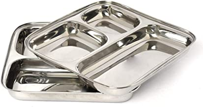 Stainless Steel Square Multipurpose Dinner Plate Set of 2,Compartment Plate 3 In 1 Set Of 2,Pav Bhaji Plate Set of 2