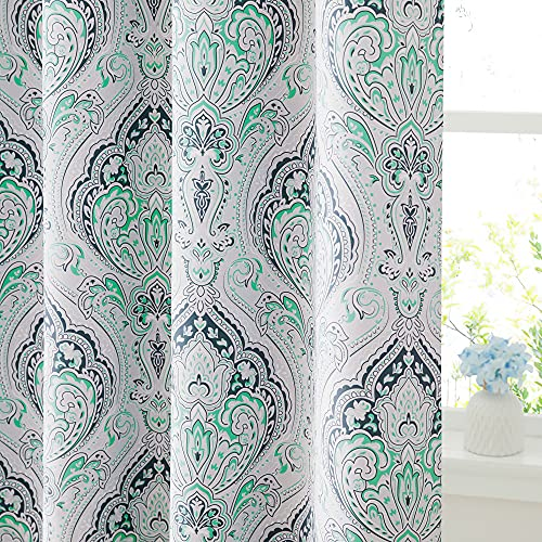 KGORGE Curtains 84 inch Length - Blackout Curtains for Bedroom Farmhouse Curtains Damask Geometry Medallion Backdrop for Dining Living Room RV, Biscay Green, 52 Wide x 84 Long, 2 Pcs