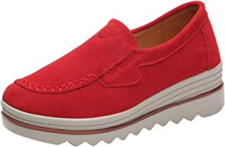 QueenMM Casual Comfort Loafers for Women Lightweight Leather/Suede Slip-On Round Toe Wedge Sneakers Walking Shoes