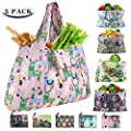 Grocery Bags Reusable Foldable XX-Large Tote Shopping Bags Heavy Duty Washable Cloth Grocery Bags 55LBS Eco-Friendly Ripstop Waterproof Fits in Pocket (Pattern 8)