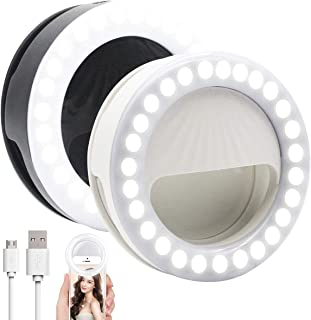 SMX 2 Pack Selfie Ring Light, 9 Levels Brightness Rechargeable 52 LED Selfie Fill Light for iPhone, Smartphones, Pads, Makeup Mirrors