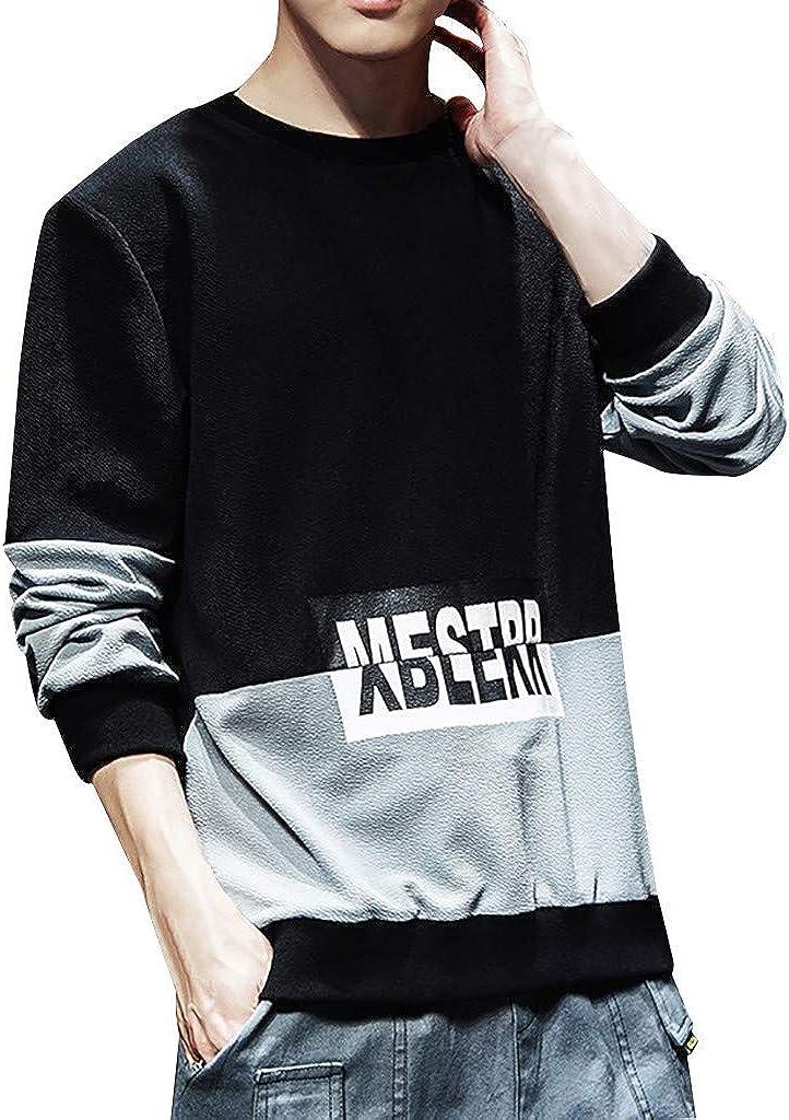 Sweashirts for Men, F_Gotal Mens Casual Long Sleeve Heavyweight Crewneck Sweatshirt Sports Outwear Hooded Sweatshirts