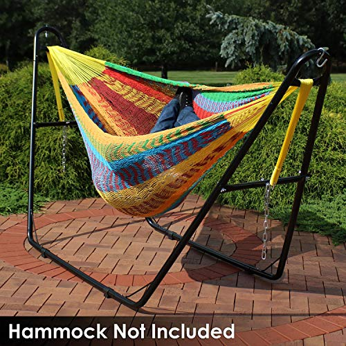Sunnydaze 550-Pound Capacity Universal Multi-Use Heavy-Duty Steel Hammock Stand, 2 Person, Fits Hammocks 9 to 14 Feet Long, Black
