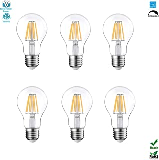 A19(A60) Dimmable LED Edison Light Bulb Filament Vintage E26 Base 6.5Watt(60W Equivalent) For Home Outdoor:2700K,Warm White,810lm, CRI>80cri,Screw Clear Glass,ETL&Energy Star&ERP&ROHS Listed