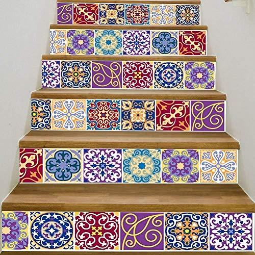 Treppenaufkleber 6 teile/satz Bunte Arabische Fliesen Aufkleber Für Cooridor Selbstklebende PVC Treppe Tapete DIY Wohnkultur Treppen Kunst Wandtattoo, A
