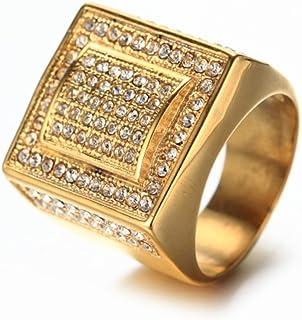Mens Hip Hop Square Diamond Titanium Steel Rings