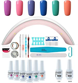 Gel Nail Polish Starter Kit - 6 Colors Gel Polish Set Base Top Coat, 36W LED Nail Dryer Lamp with Full DIY Gel Manicure Nail Tools by Vishine 8ml #13