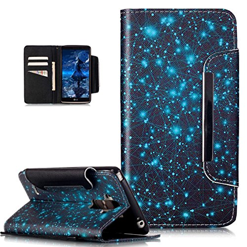 Kompatibel mit LG G Stylo/LG G4 Stylus Hülle,Groß Magnetic Buckle Bunte Gemalt Malerei PU Lederhülle Tasche Handyhülle Flip Wallet Ständer Schutzhülle für LG G Stylo LS770/LG G4 Stylus,Blaue Galaxie