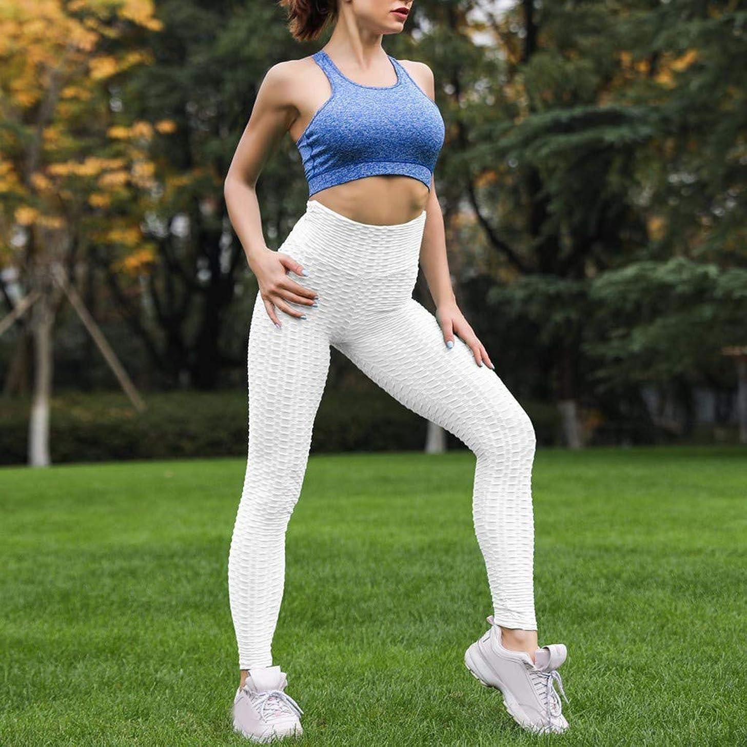 CapsA Yoga Pants High-Waist Tummy Control Fold Cross Strap Leggings Running Sports Pants Trouser