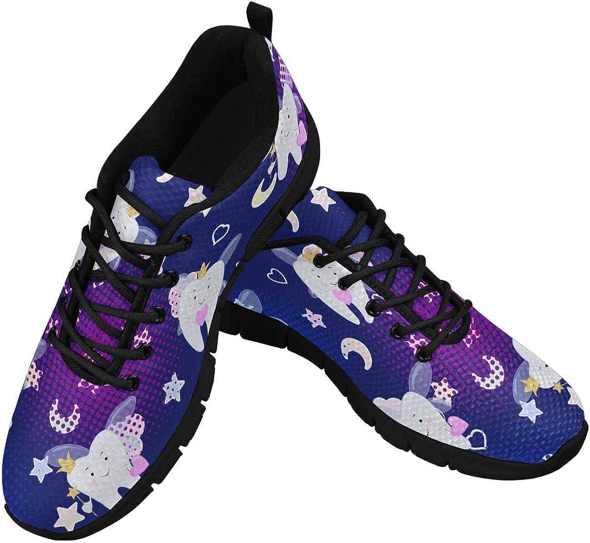 InterestPrint Tooth Fairy Cartoon Women's Athletic Walking Running Sneakers Comfortable Lightweight Shoes