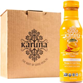 Karuna Whole Plant Tonic, Organic Rejuvenate drink with Lemon and Red Dates, High in Antioxidants, 6-pack (Mango & Goji Berry)