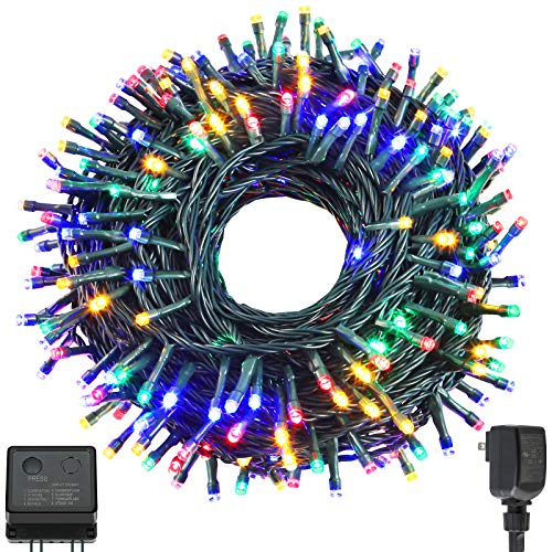 QUWIN Waterproof LED Outdoor Christmas String Lights, LED UL Certified 8 Modes with End-to-End Plug, Indoor & Outside Fairy Light for Christmas Tree, Patio, Wedding, Party (115Ft Multi-Color)