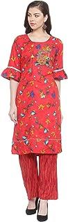 Aujjessa Women's Rayon Embroidered Kurta Palazzo Set (Red)