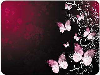 Silent Monsters Tappetino Mouse, Taglia M (350 x 260 mm), Disegno Farfalla rossa con Bordo Cucito, per Ufficio Mouse e Gam...