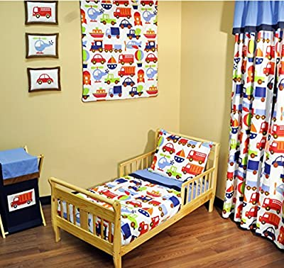 Bacati - Transportation Blue 4 Piece Toddler Bedding Set from Bacati