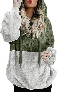 Chaofanjiancai Women Color Block Hooded Casual Sweatshirt Winter Warm Zipper Pocket Pullover Blouse Shirts