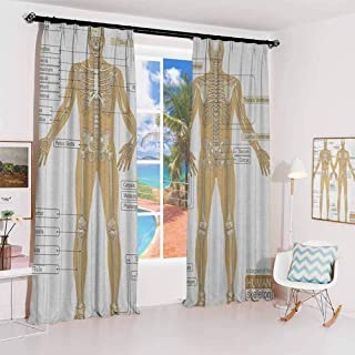 Human Anatomy Pleated curtains with blackout and lining Diagram of Human Skeleton System with Titled Main Parts of Body Joints Picture Used for Living room bedroom with sliding door patio door W96 x