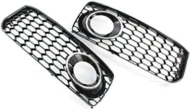 Fog Light Grill with Chrome Trim, Front Bumper Fog Lamp Grilles Cover Fit For 2008-2012 Audi A5 S-Line S5 B8 RS5